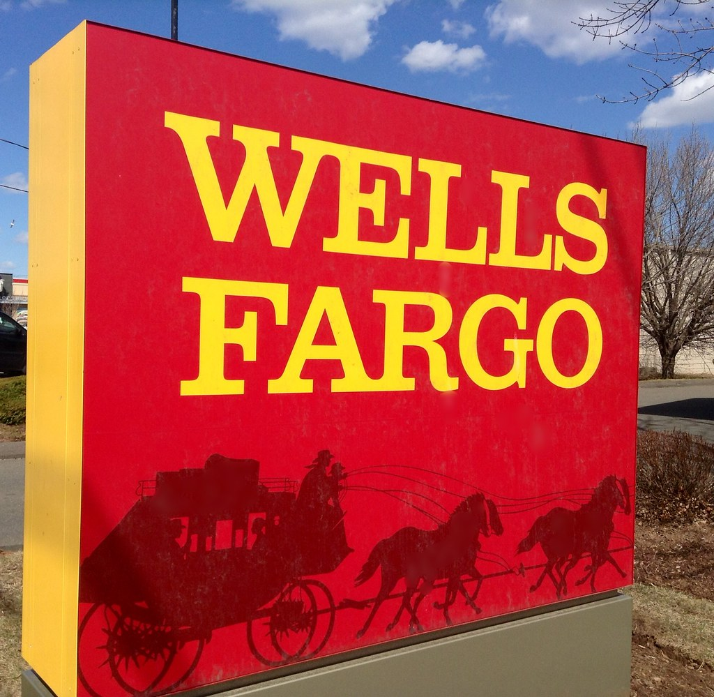 red and yellow wells fargo sign
