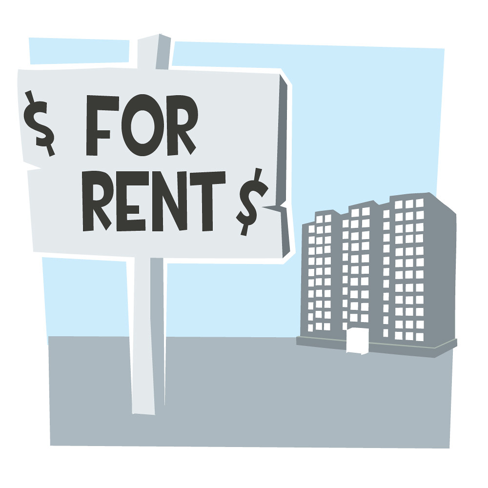 illustration of for rent sign in front of large apartment building