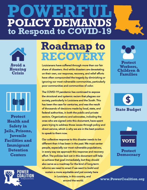 """Picture of the Power Coalition for Equity and Justice's """"Roadmap to Recovery"""" infographic"""