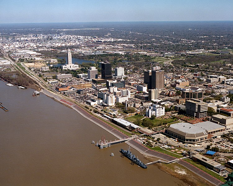 aerial view of baton rouge waterfront and mississippi river