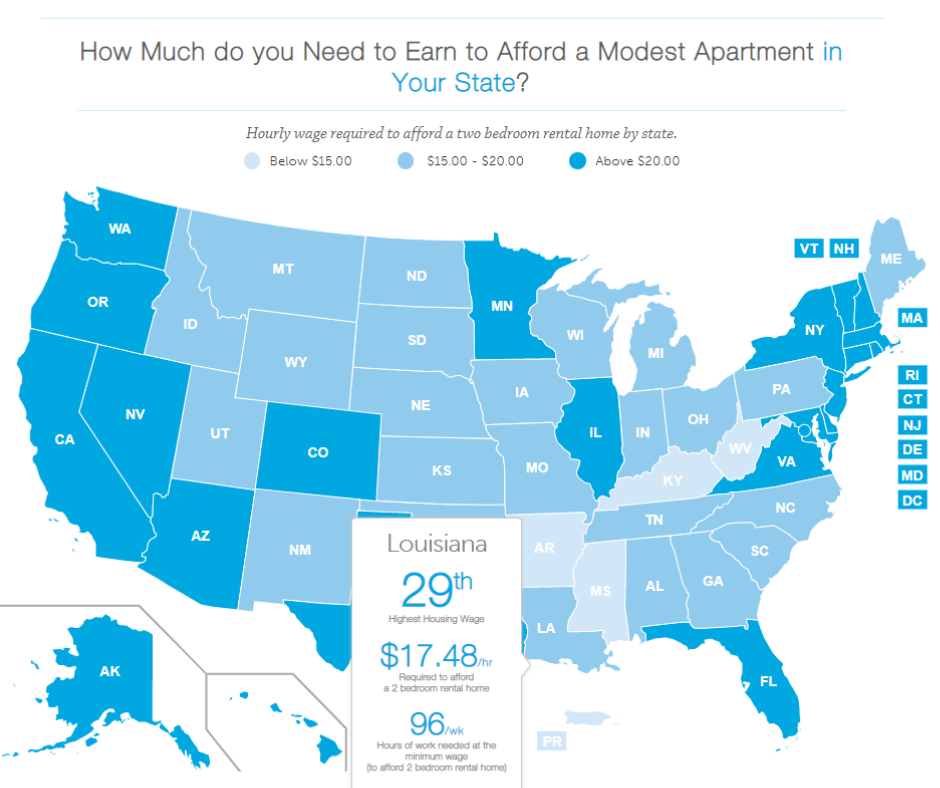 Map of the u.s. that shows how much you need to earn to afford a modest apartment in your state. louisiana has the 29th highest housing wage
