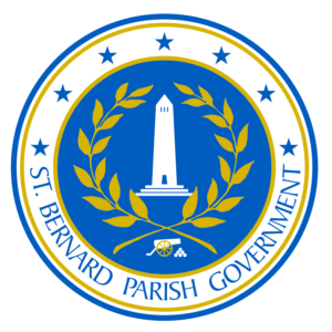st bernard parish government seal with obelisk, branches, a canon and stars