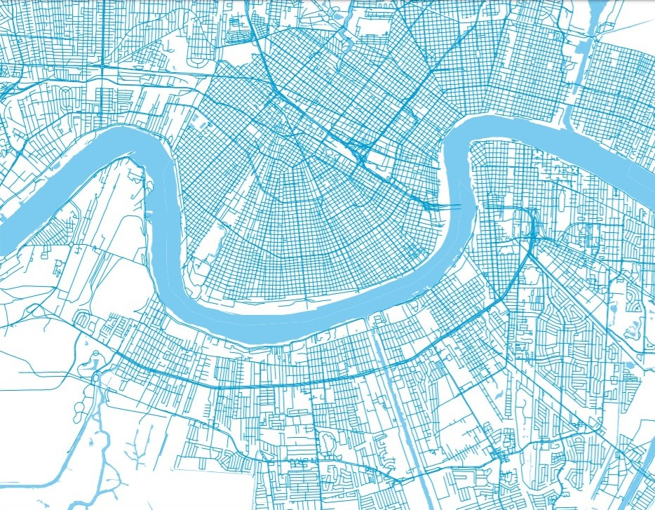 blue and white map of new orleans and mississippi river