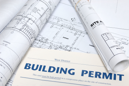 building permit on top of architectural building layout