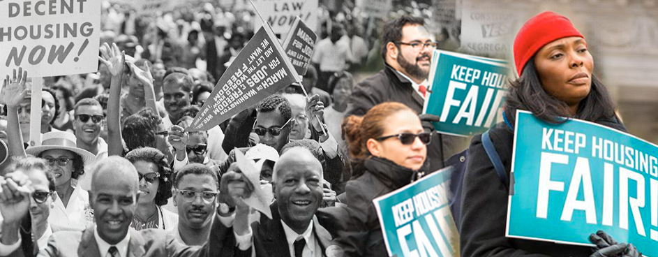 """composite image of current day protesters holding """"fair"""" signs and black and white image of civil rights protesters from the 1960s"""
