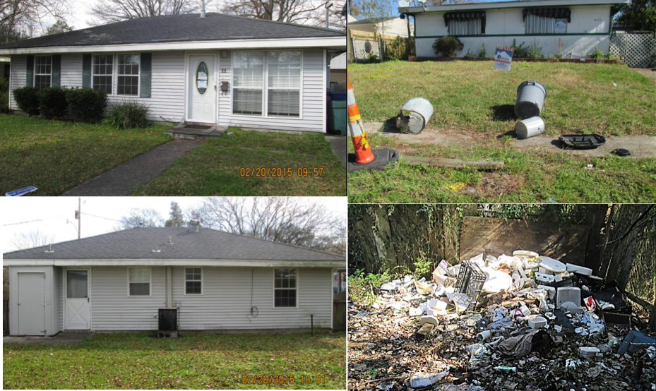 two pictures of poorly maintained bank-owned homes with trash littered in front of them beside two pictures of well-maintained bank-owned homes