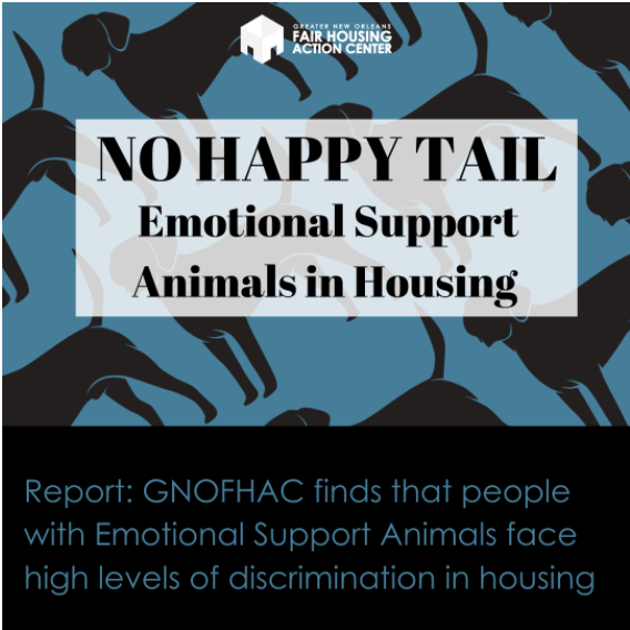Cover image of No Happy Tail: Emotional Support Animals in Housing text over black and blue dog pattern. Report: GNOFHAC finds that people with Emotional Support Animals face high levels of discrimination in housing.