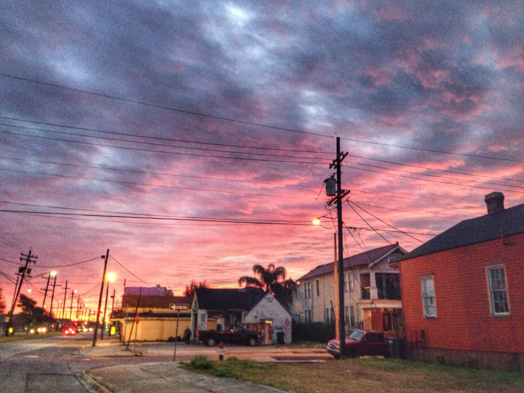 sunrise over faubourg marigny neighborhood of new orleans