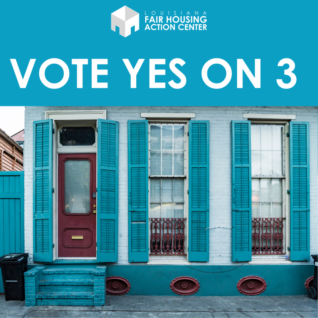 """text reads """"vote yes on 3"""" over image of blue shotgun house with shutters"""