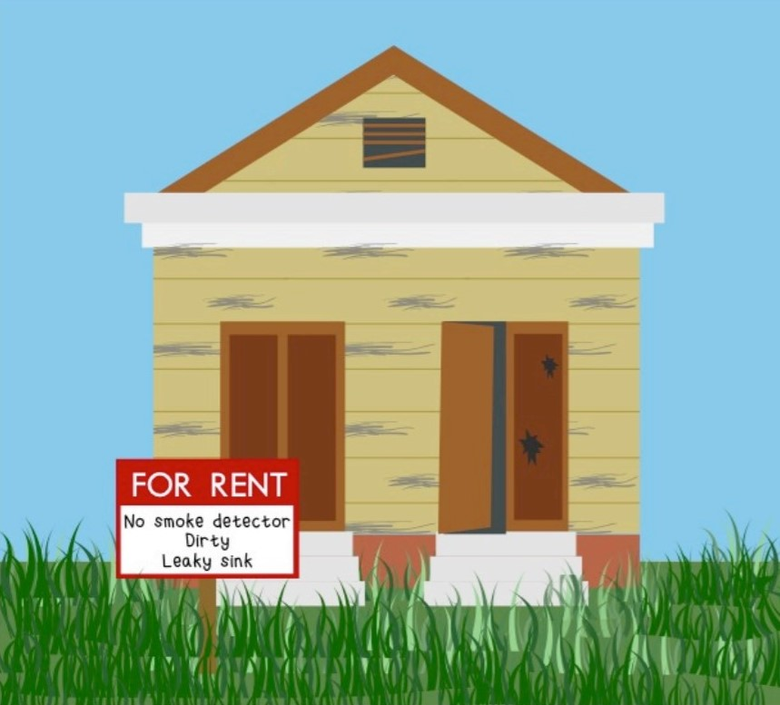 illustration of yellow house with for rent sign in front