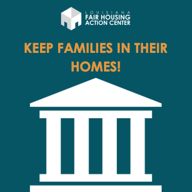"""text reads """"keep families in their homes"""" over teal background and illustration of court house"""