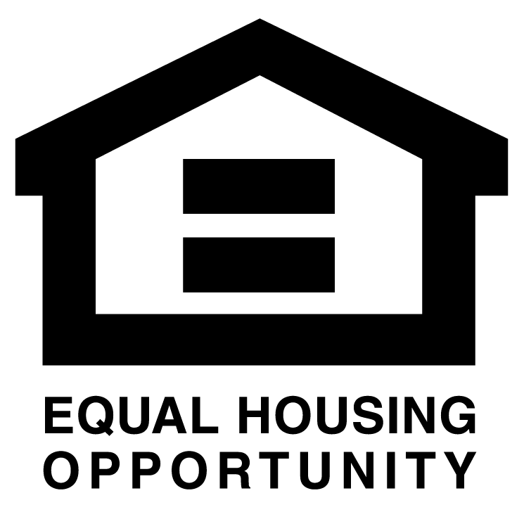 """""""equal housing opportunity"""" logo with equal sign inside outline of house"""