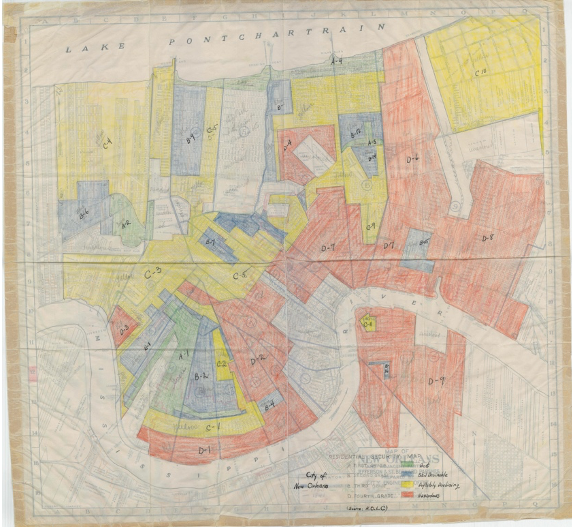 color coded hand drawn map of new orleans