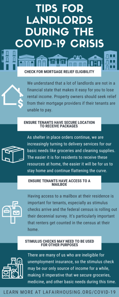 """tips for landlords during the covid-19 crisis including: check for mortgage relief eligibility, ensure tenants have secure location to receive packages, ensure tenants have access to a mailbox, stimulus checks may need to be used for other purposes"""""""