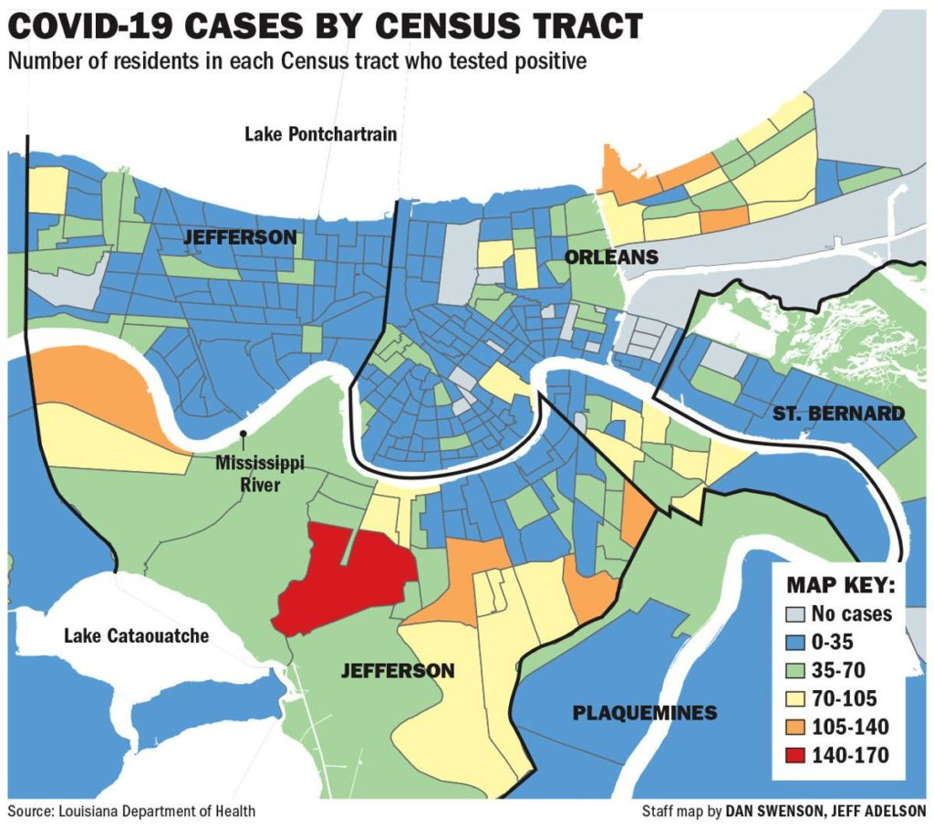 covid-19 cases by census tract map with the number of residents in each census tract of the greater new orleans area who tested positive