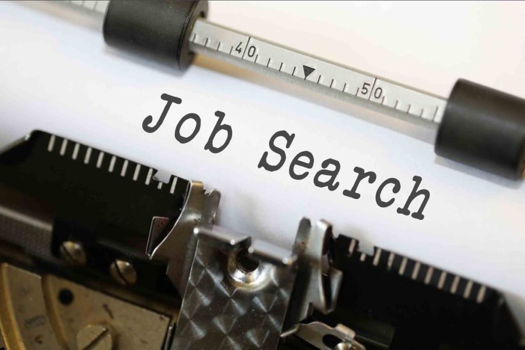 """job search"" typed in typewriter"